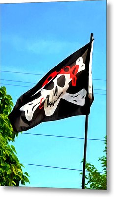 Pirate Ship Flag Of The Skull And Crossbones Metal Print by Lanjee Chee