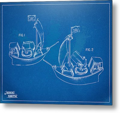 Pirate Ship Patent - Blueprint Metal Print by Nikki Marie Smith