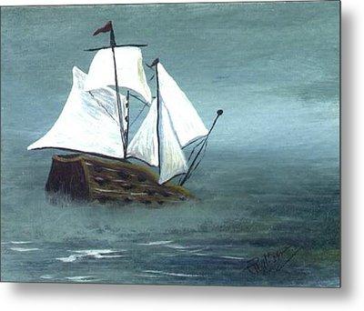 Pirate Ship Metal Print by Phyllisann Arthurs