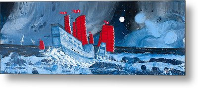 Pirate Ships In A Storm In The  South China Sea Metal Print by Glenn  Russell