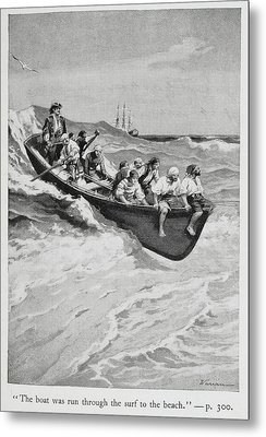 Pirates And Their Captain In A Boat Metal Print by British Library