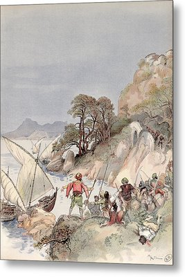 Pirates From The Barbary Coast Capturin Gslaves On The Mediterranean Coast Metal Print