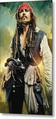 Pirates Of The Caribbean Johnny Depp Artwork 1 Metal Print