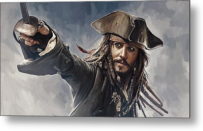 Pirates Of The Caribbean Johnny Depp Artwork 2 Metal Print by Sheraz A