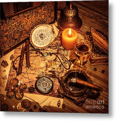 Pirates Treasure Background Metal Print by Anna Om