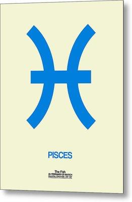 Pisces Zodiac Sign Blue Metal Print by Naxart Studio