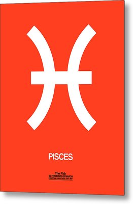 Pisces Zodiac Sign White Metal Print by Naxart Studio