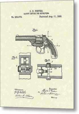 Pistol Device 1896 Patent Art Metal Print by Prior Art Design