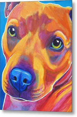 Pit Bull - Boo Metal Print by Alicia VanNoy Call