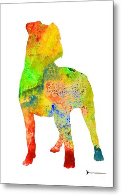 Pitbull Colorful Silhouette Painting Watercolor Art Print Metal Print by Joanna Szmerdt