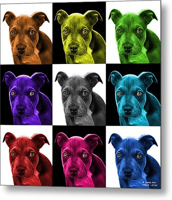 Pitbull Puppy Pop Art - 7085 V2 - M Metal Print by James Ahn