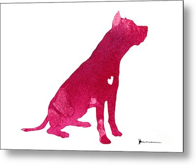 Pitbull Silhouette Watercolor Art Print Painting Metal Print by Joanna Szmerdt