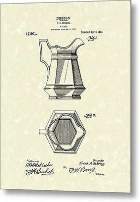 Pitcher 1915 Patent Art Metal Print by Prior Art Design