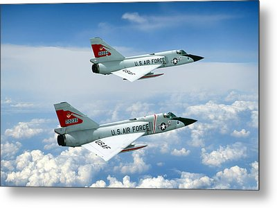 Pitching Darts F-106 2-ship Metal Print by Peter Chilelli