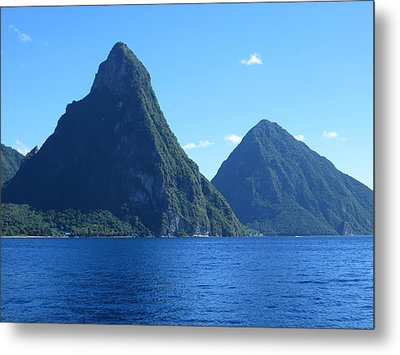 Metal Print featuring the photograph Pitons In St. Lucia by Jean Marie Maggi