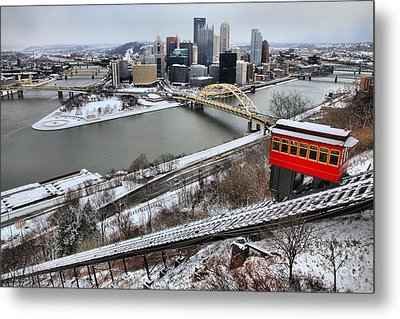 Pittsburgh Duquesne Incline Winter Metal Print by Adam Jewell