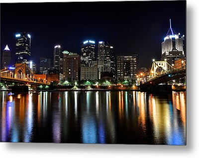 Pittsburgh At 2am Metal Print by Frozen in Time Fine Art Photography