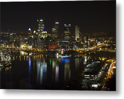 Pittsburgh At Christmas Metal Print by Nathan Ealy