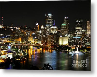 Pittsburgh Autumn Night 1 Metal Print by Jay Nodianos