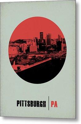 Pittsburgh Circle Poster 2 Metal Print by Naxart Studio
