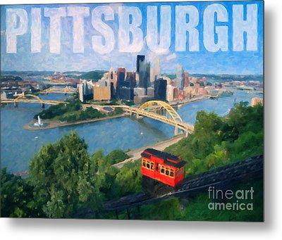 Pittsburgh Digital Painting Metal Print by Sharon Dominick