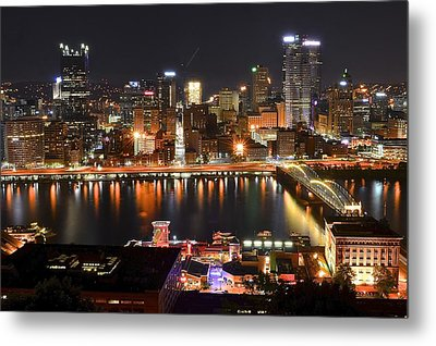 Pittsburgh Over The Monongahela Metal Print by Frozen in Time Fine Art Photography