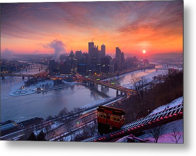 Pittsburgh Skyline Winter 2 Metal Print