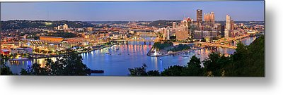 Pittsburgh Pennsylvania Skyline At Dusk Sunset Extra Wide Panorama Metal Print by Jon Holiday