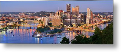 Pittsburgh Pennsylvania Skyline At Dusk Sunset Panorama Metal Print by Jon Holiday