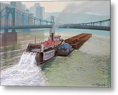 Pittsburgh River Boat-1948 Metal Print by Paul Krapf