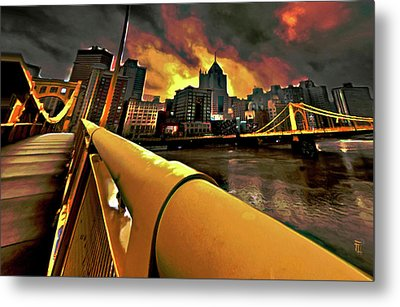 Pittsburgh Skyline Metal Print by  Fli Art