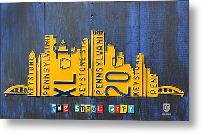 Pittsburgh Skyline License Plate Art Metal Print by Design Turnpike