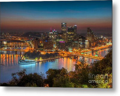 Pittsburgh Skyline Morning Twilight I Metal Print by Clarence Holmes