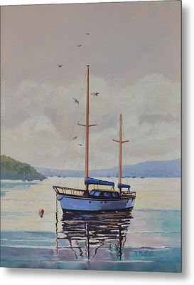 Metal Print featuring the painting Pittwater Calm by Murray McLeod
