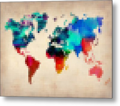 Pixelated World Map Metal Print by Naxart Studio