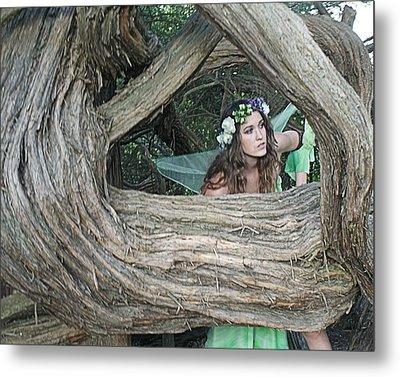 Pixie Looking Through Tree Metal Print