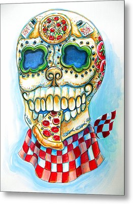 Pizza Sugar Skull Metal Print by Heather Calderon