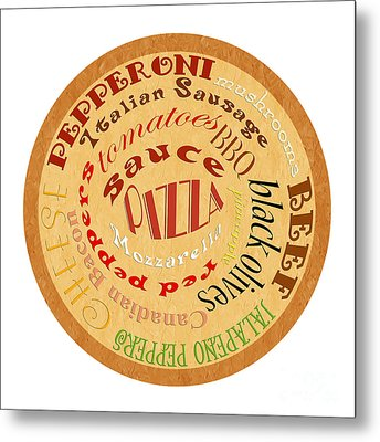 Pizza Typography 2 Metal Print by Andee Design