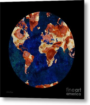 Pizza World Metal Print by Andee Design