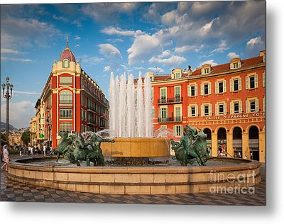Place Massena At Dusk Metal Print by Inge Johnsson
