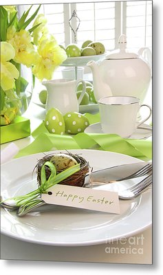 Place Setting With Place Card Set For Easter Metal Print by Sandra Cunningham