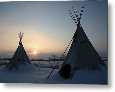 Plains Cree Tipi Metal Print by Larry Trupp