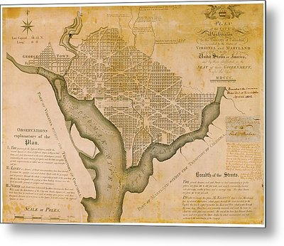 Plan For Washington D.c. Metal Print by American Philosophical Society