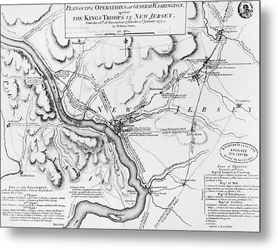 Plan Of The Operations Of General Washington Against The Kings Troops In New Jersey Metal Print by William Faden