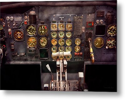 Plane - Cockpit - Boeing 727 - The Controls Are Set Metal Print by Mike Savad