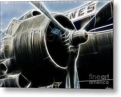 Plane Fantasy Plane Gray  Metal Print