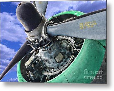 Plane Green Prop Metal Print by Paul Ward