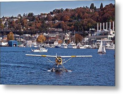 Plane On Lake Union Seattle Metal Print by Valerie Garner