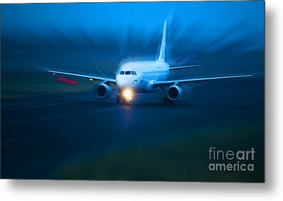 Plane Takes Of At Dusk Metal Print by Michal Bednarek