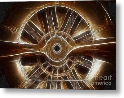 Plane Wooden Prop Metal Print by Paul Ward